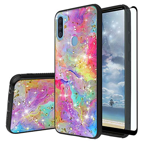 TJS Phone Case for Samsung Galaxy A11 (Not Fit Galaxy A10/A10S/A10E), with [Full Coverage Tempered Glass Screen Protector] Shiny Flake Glitter Skin Full Body Soft TPU Rubber Bumper Cover (Rainbow)