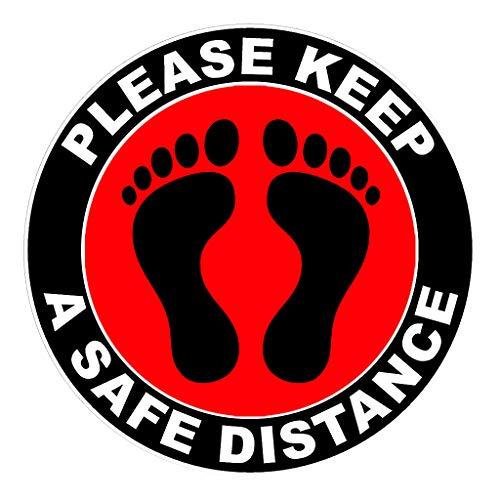 1x Abstand Halten Aufkleber FußBodenaufkleber 30 CM Bodensticker - Bitte halten Sie einen sicheren Abstand - Please Keep A Safe Distance (Rot)