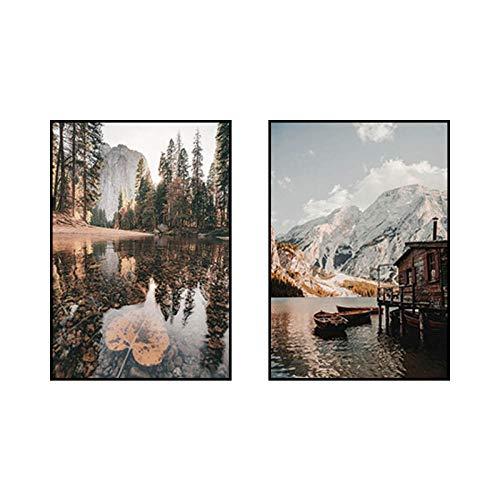 Mañana Amanecer Naturaleza Paisaje Poster e Impresiones montaña Lago Lienzo Pintura Estilo nórdico Arte de la Pared Sala de Estar Decoracion Cuadros 40x60cmx2 sin Marco