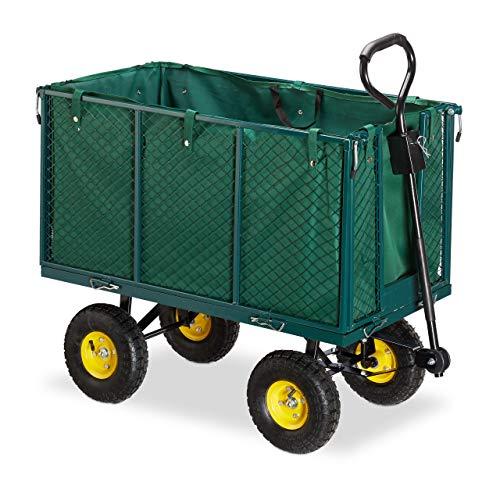 Relaxdays, Verde, Carro jardín XXL hasta 500 kg, Acero-Goma-Tela, 83 x 51 x 113 cm