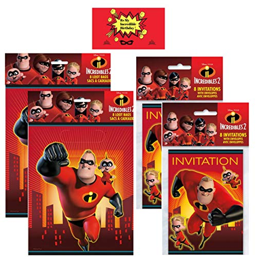 Incredibles 2 Party Favor Bags with Invitations - Set of 16 each Bundled with JPMD Party Sticker (Total 32 Pcs- 16 Loot Bags & 16 Invitation Cards)