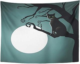 b1ecbd61e Emvency Tapestry Artwork Wall Hanging Chesire Cheshire Cat in The Moonlight  Alice Moon Wonderland Animal Bizarre