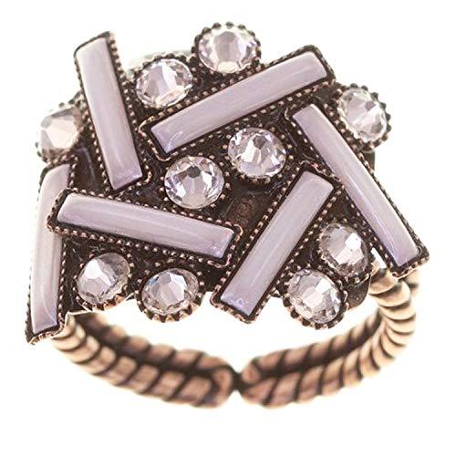 Konplott Ring Graphic Flow Exklusiver Modeschmuck mit Swarovski Elements   Fingerring mit Glitzer-Steinen   Schmuck für Damen in : Rosa
