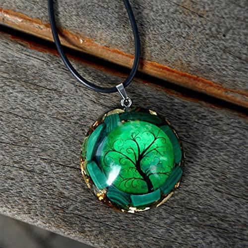 JUNLAI Collar Colgante Hecho a Mano Malachite Crystal Cartz Jewelry Regalo