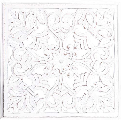 Orientalische Holz Ornament Wanddeko Ayub 60cm gross | Orientalisches Wandbild Wanpannel in Shabby Weiß als Wanddekoration | Vintage Relief als Dekoration im Schlafzimmer oder Wohnzimmer