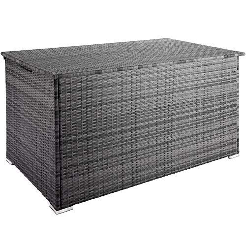 TecTake 800715 Aluminium Polyrattan Auflagenbox, wetterfeste und rostfreie Konstruktion, mit Gasdruckfedern, 750 Liter, 145 x 82,5 x 79,5 cm – Diverse Farben - (Grau | Nr. 403276)