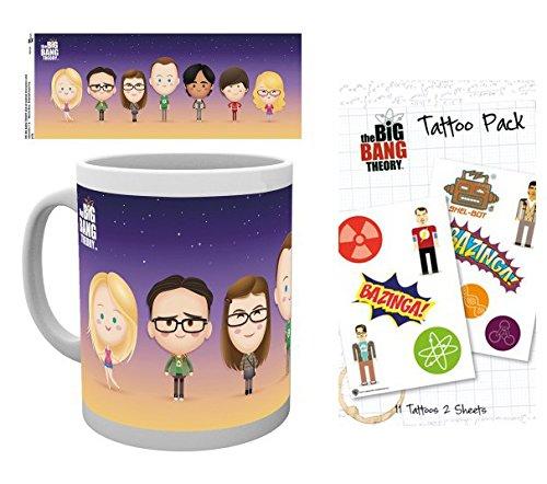 1art1 The Big Bang Theory, Characters Taza Foto (9x8 cm) Y 1 The Big Bang Theory, Set De Tattoos (17x10 cm)