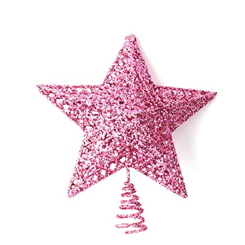 Olen 6.3 Inch Christmas Star Tree Topper Metal Tree Toppers Christmas Decorations (Pink)