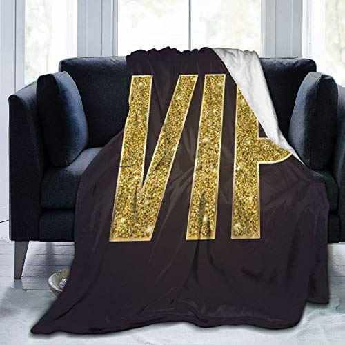 VANKINE Ultra-Soft Micro Fleece Blanket,Golden Symbol of Exclusivity The Label VIP Very Important Person On 3D Black,Home Decor Warm Throw Blanket for Couch Bed,60'X 50'