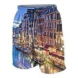 SUHOM De Los Hombres Casual Pantalones Cortos,Venecia de Noche Vista sobre el Gran Canal Desde el Puente de Rialto,Secado Rápido Traje de Baño Playa Ropa de Deporte con Forro de Malla