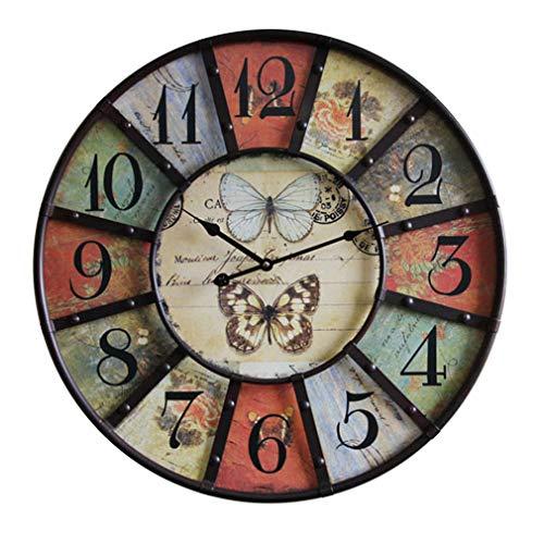 JYCTD 59Cm Vintage Wall Clock , Gran TamañO Europeo Color Retro Retro Silencioso Sin Tictac DiseñO Elegante úNico Ideal para Salones Cocinas Pubs Lofts CafeteríAs 59Cm