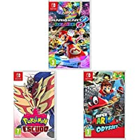 Nintendo Mario Kart 8 Deluxe + Super Mario Odyssey + Pokémon Escudo Switch