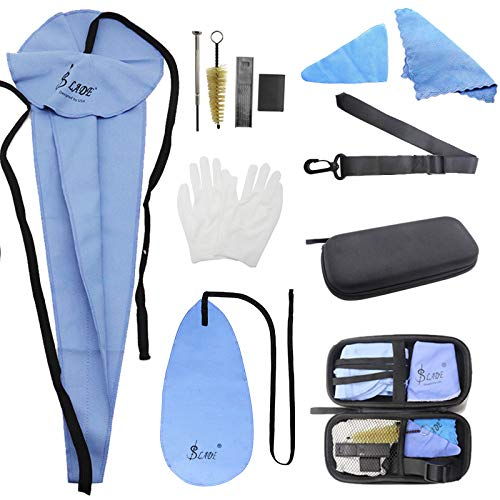 YZNLife Saxophone Cleaning Care with Case Kit Included Thumb Rest Cushion Reed Case Mouthpiece Brush Mini Screwdriver Cleaning Cloth for Clarinet, Flute and Wind & Woodwind instrument