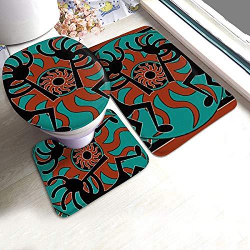 Juego de 3 alfombrillas de baño de espuma de memoria de felpa – Tapetes de baño con diseño de flauta indio nativo americano absorbente de agua en forma de U – Antideslizante, alfombra de secado rápido
