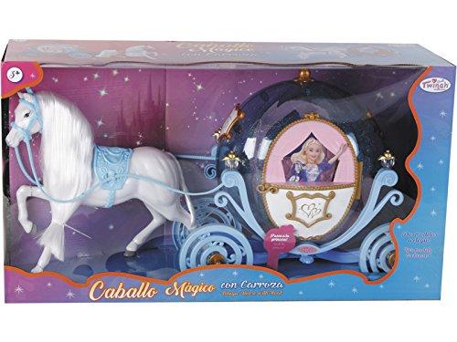 TWINAH Caballo Mágico Melena con Carroza Azul 55 cm.