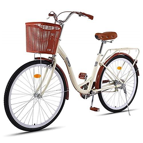HLW 26/24 Pulgadas 7 Velocidad de la Bicicleta, Bicicletas de los Hombres Adultos y Las Mujeres con cestas, Retro Bicicletas de Ciudad Ligeros brown-26inches