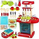 TikTakToo Kinderküche Puppenküche im Koffer mit Zubehör - Küche mit Licht und Sound zum mitnehmen für Kinder Spielküche Spielzeug Rot /blau /beige Mädchen