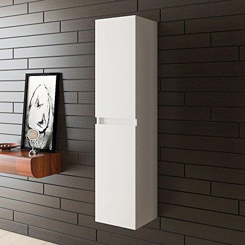 bad1a Wandschrank/Badmöbel/Hochschrank/Vormontiert/Modell Lugano H-150 / Farbe Weiss Hochglanzlack/Badezimmer Möbel/Preissenkung