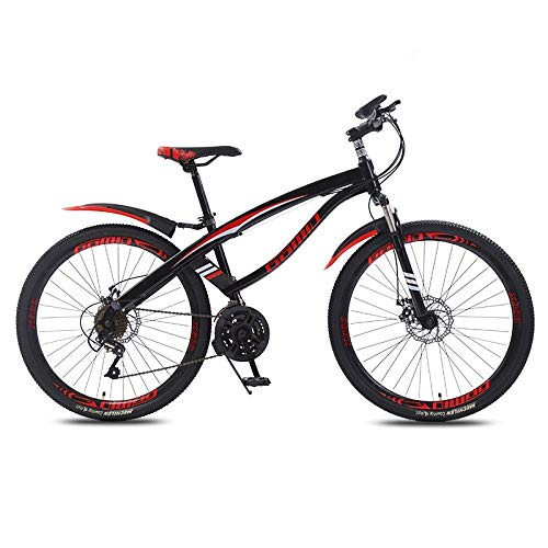 DGAGD 24 inch mountain bike variable speed light 40 knife wheel bicycle-Black red_27 speed
