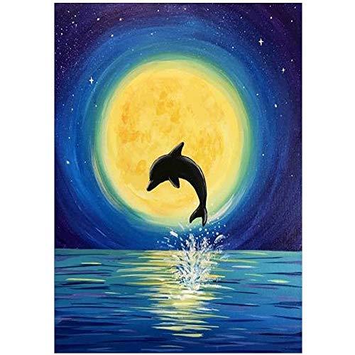 DIY Animal delfín Pintura al óleo por números para Adultos Pintura de Bricolaje sobre Lienzo para niños, Adultos Principiantes 40x50cm- sin Marco