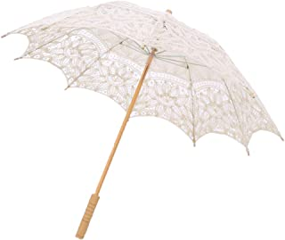 IPOTCH Lace Embroidered Wooden Handle Umbrella Bridal Wedding Party For Photo Show