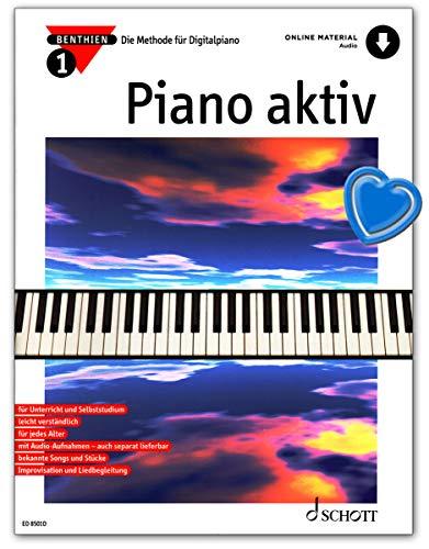 Piano aktiv Band 1 - Die Methode für Digitalpiano - Ausgabe mit Online-Audiodatei mit bunter herzförmiger Notenklammer