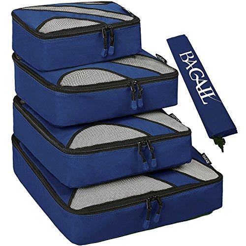 Set di 4 elementi di borsad'immagazzinamento di viaggiare, cubi di imballaggio per i bagagli, incluso il sacco della biancheria Marina Militare nailon