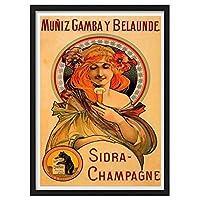 zkpzk ヴィンテージアルコール飲料ワインポスターシドラシャンパンクラシックキャンバス絵画壁アートワークポスター家の装飾ギフト-40X60Cmx1フレームなし