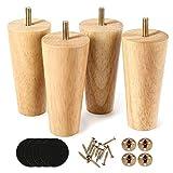 One sight 4x patas de muebles de madera maciza 12. 7cm, cónicas patas de repuesto de madera maciza con placa de montaje y tornillos, con rosca m8, para sofá, tv, armario, cama, mesa de comedor