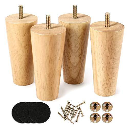 One Sight 5 inch massief houten meubelpoten dressoirpoten bank vervangende benen, midden eeuw bankpoten voor bank, bed, fauteuil, kast, set van 4 (hout-kleur)