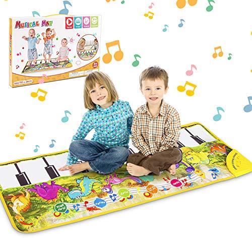 Magicfun Piano Mat, Klaviermatte Musikmatte , Klaviermatte mit 8 Instrumenten, Keyboard Tanzmatte, Keyboard Matten, Klaviertastatur Musik Playmat Spielzeug für Jungen Mädchen Kinder(Dinosaurier