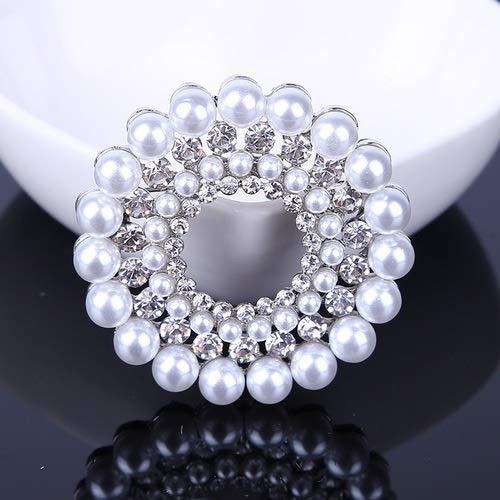 Neaer Broche de diamantes de imitación de color plateado con flores para mujeres y hombres, boda, fiesta de novia, ramo redondo, alfiler transparente, accesorios (color metal: 02)