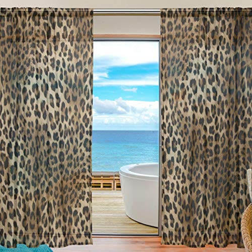 MAHU Sheer Curtains Animal Leopard Print Pattern Window Voile Curtain Drapes for Living Room Bedroom Kitchen Home Decor 55x84 inches, 2 Panels