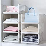 <span class='highlight'>Wardrobe</span> Storage Box ,4-Pack Plastic <span class='highlight'>Wardrobe</span> Organizer Stackable Detachable Baskets Closet Containers Bin Cubes Organiser, Home Office <span class='highlight'>Bedroom</span> Laundry Fold Pull Out Drawer Dividers for Clothes,Toys