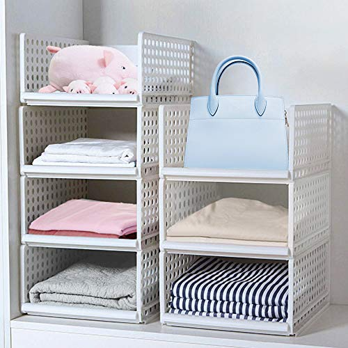 Wardrobe Storage Box ,4-Pack Plastic Wardrobe Organizer Stackable Detachable Baskets Closet Containers Bin Cubes Organiser, Home Office Bedroom Laundry Fold Pull Out Drawer Dividers for Clothes,Toys