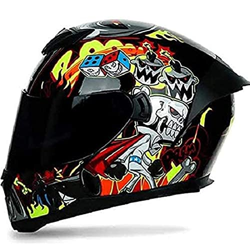 Casco Integral De Motocicleta, Cascos Flip Up Motocicleta Con Doble Visera Anti Niebla HD Reducción De Ruido Para Protección De Seguridad De Ciclismo De Carreras De Motos ECE Homologado D,XL