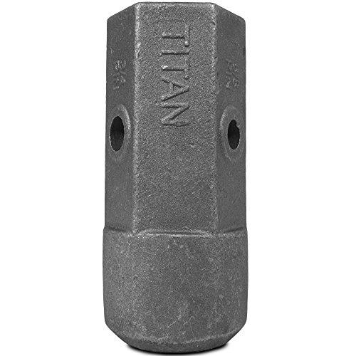 "Titan Attachments Auger Bit Repair Hub 2"" Female Hex 5/8"" and 3/4"" Pin Holes"