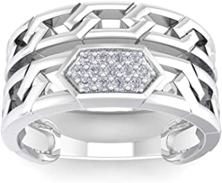 Perrian 18K White Gold 0.08 Carat (SI2 Clarity, GH Color) Round Diamond Ring for Women