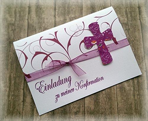 Einladung Einladungskarte Kommunion Konfirmation Firmung Taufe Kreuz christliche Symbole brombeer beere dunkel pink