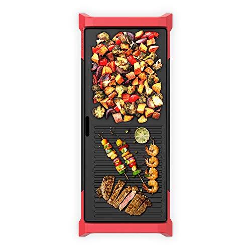 THOMSON 2-in-1 Tischgrill elektrisch (60 x 25 cm) - Elektrogrill für Balkon, Garten, Indoor, Plancha Grill & extra Grillfläche, mit Auffangbehälter & Griffen