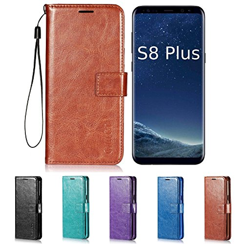 Price comparison product image Galaxy S8 Plus Case,  HLCT PU Leather Case,  with Soft TPU Protective Bumper,  Built-in Stand Kickstand,  Cash and Card Pockets,  for Samsung Galaxy S8 Plus (Brown)