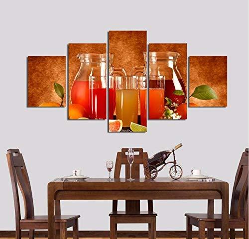RuiYa Wall Art 50x25 CM 5 Marco Pintura decorativa Jugos de frutas Lienzos de pintura impresos 5 piezas arte de pared Modular decoración del hogar sala de estar