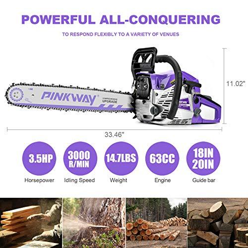 PINKWAY 2-Cycle 63CC Chainsaw Saw Gas Powered 20