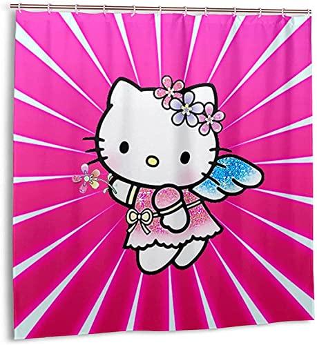 Hello Kitty Duschvorhang Badezimmer Dekor Exquisite Schimmelresistent Wasserdicht Extra Lang Badvorhang mit 12 Kunststoffhaken