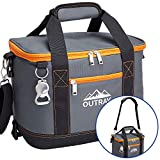 Outrav Orange Insulated Cooler Bag – 6L Collapsible Thermal Lunch Bag with Bottle Opener, 16 Can Capacity – Perfect for Camping, Picnics and Travel - Handles and Removable Shoulder Strap