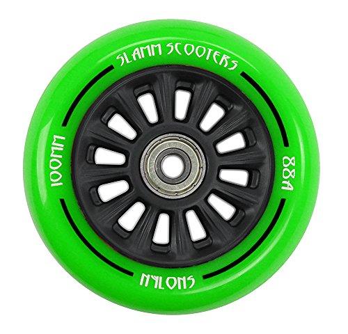 Slamm Scooters 100 mm Nylon Core Räder, Unisex Erwachsene, Unisex-Erwachsene, SL509_Green_100 mm, grün, 100 mm