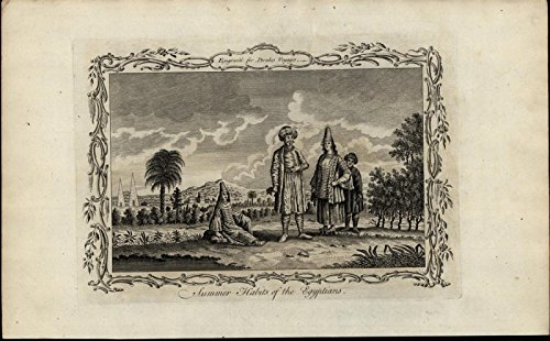 Summer Habits of Egyptians Fashion ca. 1780's fascinating old engraved print