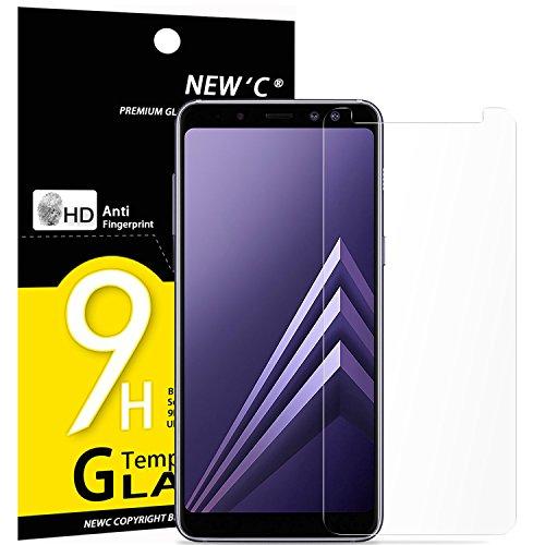NEW'C Lot de 3, Verre Trempé pour Samsung Galaxy A8 (2018), Film Protection écran - Anti Rayures - sans Bulles d'air -Ultra Résistant (0,33mm HD Ultra Transparent) Dureté 9H Glass