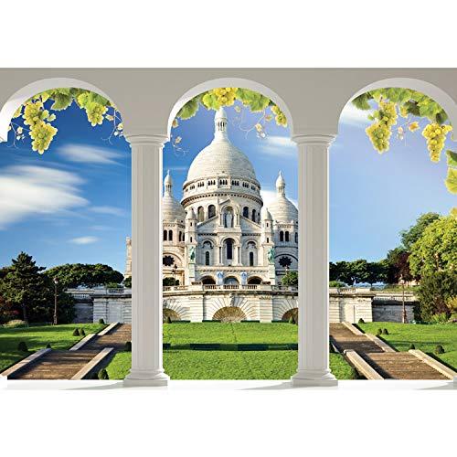 Papel Pintado Fotográfico Premium Plus fotográfico pintado–cuadro de pared–Vino Catedral Religión columnas arco–No. 1855, Verde, 312x219cm Vlies