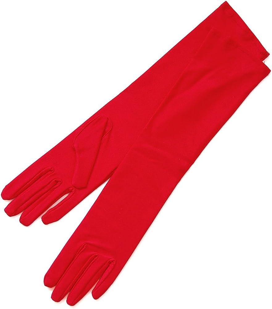 ZAZA BRIDAL 4-Way Stretch Matte Satin Girl's Gloves 8BL - 13-16yrs/8BL-Red